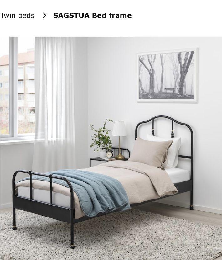 Sagstua Bed Frame Black Twin Ikea Bed Frame Single Bed Frame Twin Bed Frame Twin bed frame with slats