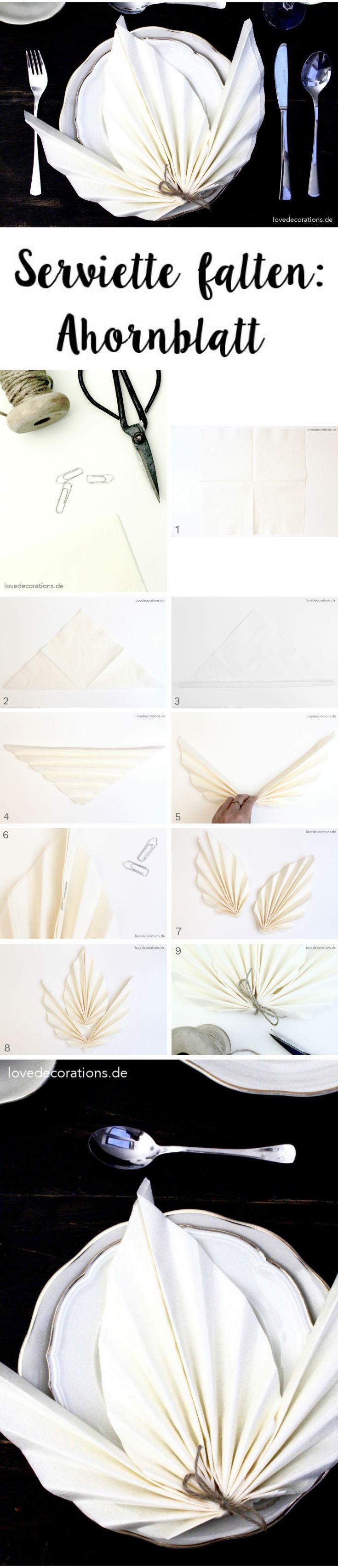 Serviette falten: Ahornblatt
