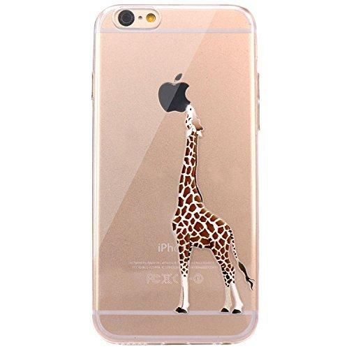 iPhone 6 Case JAHOLAN Amusing Whimsical Design Clear Bumper TPU Soft Case Rubber Silicone Skin Cover for iPhone 6 6S - Eating Giraffe