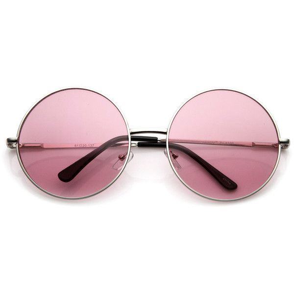 Oversize Vintage Inspired Metal Round Circle Sunglasses 8370 (£6.39) ❤ liked on Polyvore