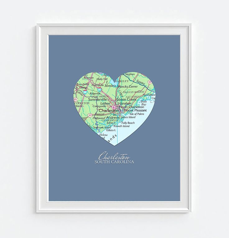 Charleston South Carolina Heart Map ART PRINT