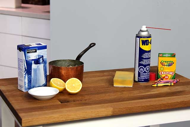 Discover unique ways to clean your house with items you have lying around. Like WD-40 to remove those tough crayon marks from you wall.