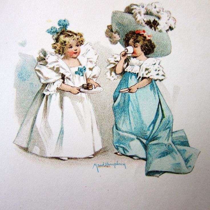 Maud Humphrey Bogart (1868-1940) —  Lithograph Illustration 'Two Girls Hat',1900   (1600x1600)