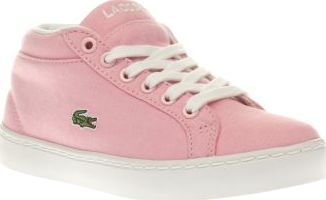 Lacoste Pink Straightset Chukka Girls Junior Lacoste take girly sports styling to some new heights as the Straightset Chukka arrives for kids. Dressed in pale pink, this sporty hi-top features a soft fabric upper, joined with a padded ankle coll http://www.comparestoreprices.co.uk/january-2017-8/lacoste-pink-straightset-chukka-girls-junior.asp