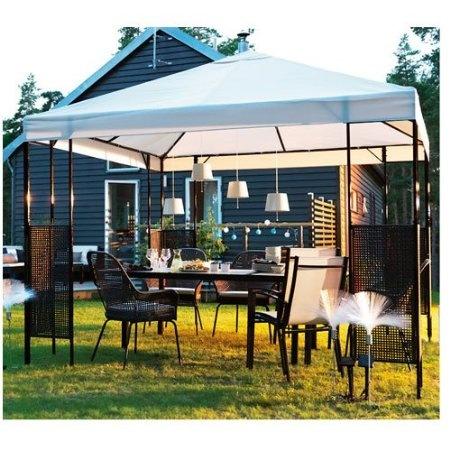 Ikea ammero gazebo beige with dark brown frame patio - Pergolas baratas ikea ...