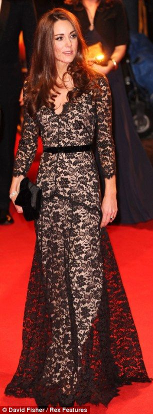 The Duchess of Cambridge wearing the same lace dress at the War Horse film premiere in January