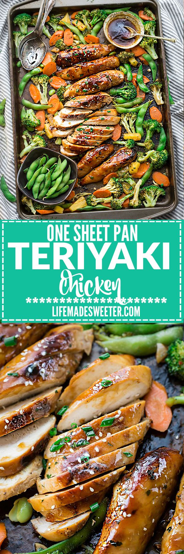 One Sheet Pan Teriyaki Chicken with Vegetables makes the perfect easy weeknight meal! Best of all, everything cooks up onto just ONE sheet pan in just 30 minutes with minimal cleanup! So much easier, healthier and better than takeout! Weekly meal prep or leftovers make delicious school or work lunch bowls - just add your favorite side like quinoa, zoodles, cauliflower rice or brown or jasmine rice.