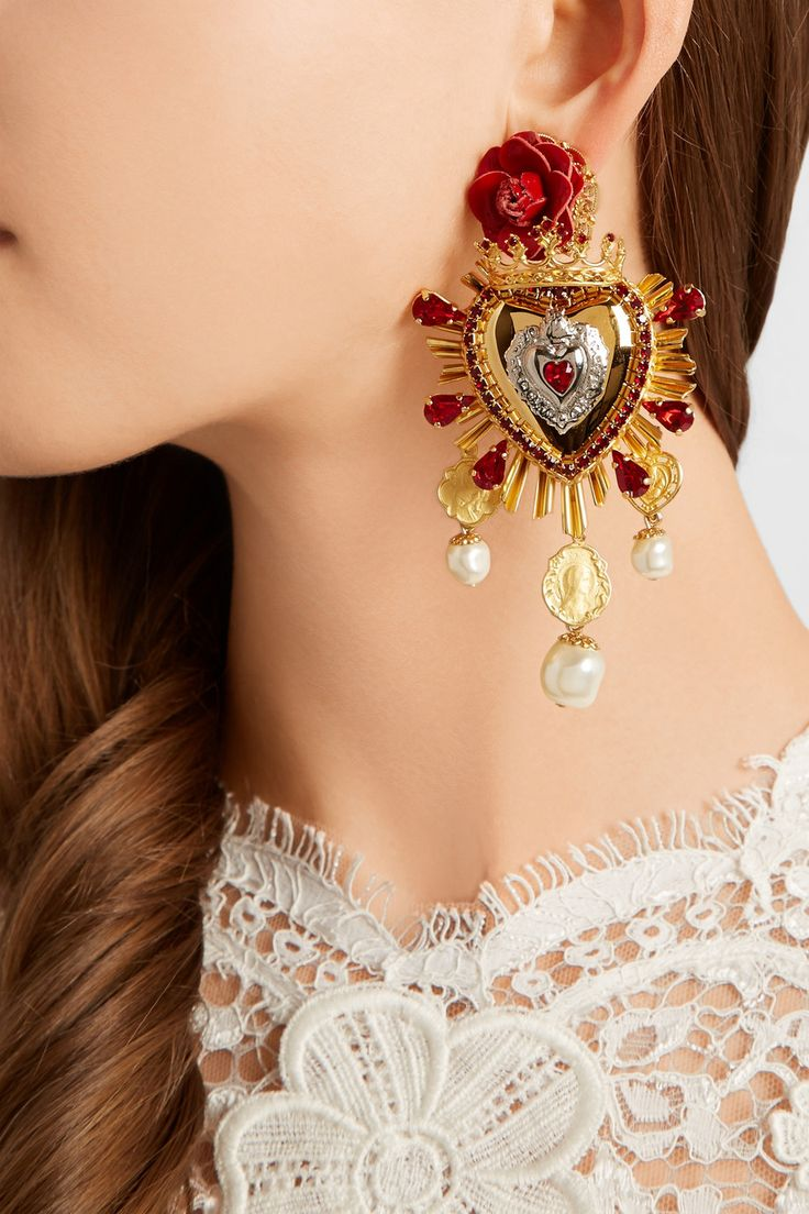 Dolce & Gabbana | Sacro Cuore gold and silver-plated, Swarovski crystal and faux pearl clip earrings | NET-A-PORTER.COM