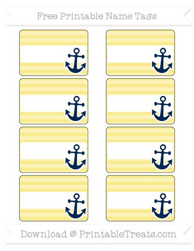 Free Pastel Yellow Horizontal Striped Nautical Name Tags