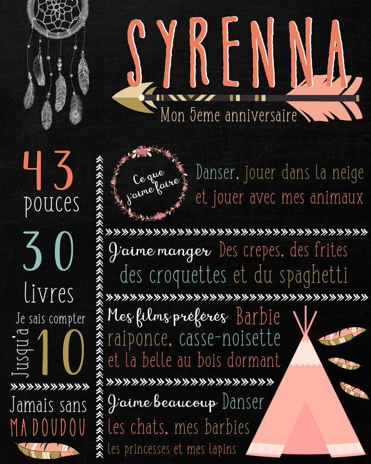 Affiche personnalisée 5eme anniversaire - thème hippie, bohème chic rose.
