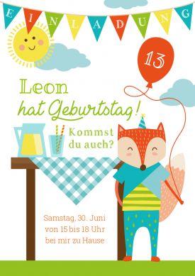 Fröhliche Einladungskarte Fürs Picknick Oder Gartenfest Zum 13.  Kindergeburtstag Mit Fuchsjunge