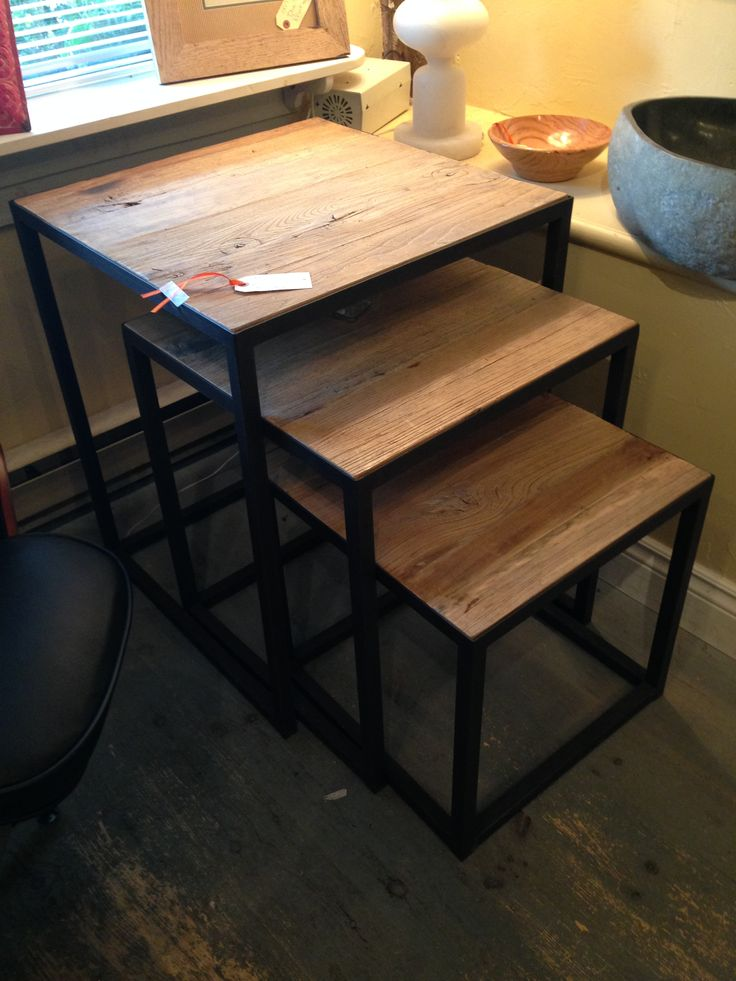 Old elm boards used in these stacking nesting tables. www.nestinghabits.ca