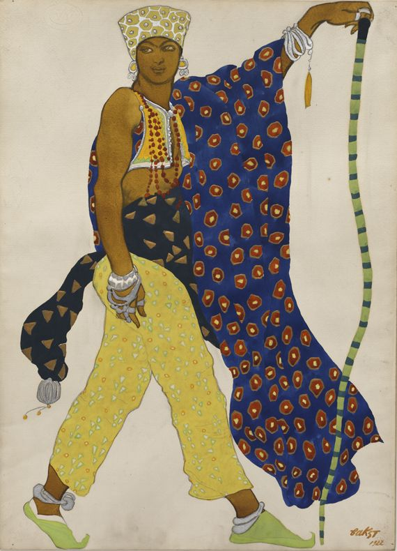 Pilgrim, from the ballet 'Le Dieu Bleu' (1911) by Leon Bakst.  Gouache and metallic paint with graphite on paper.  Philadelphia Museum of Art.
