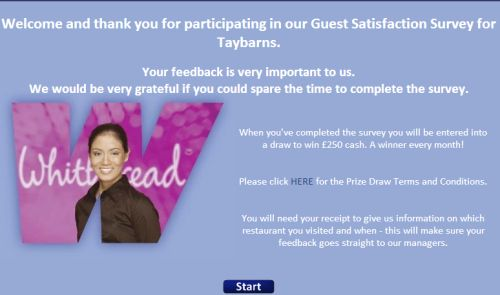 Taybarns Guest Satisfaction Survey, www.talktotaybarns.com