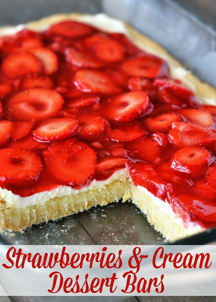 The Country Cook Strawberries Cream Dessert Bars Sugar Cookie Mix Base Cream Cheese Layer
