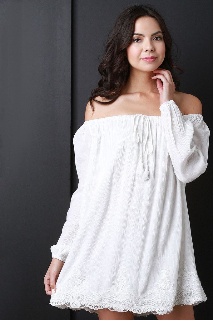 Long Sleeve Off The Shoulder Peasant Dress