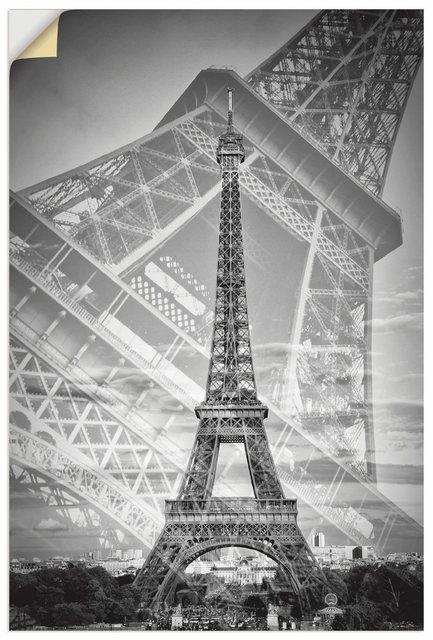 Wandfolie »M. Viola: Der doppelte Eiffelturm II, Monochrom«