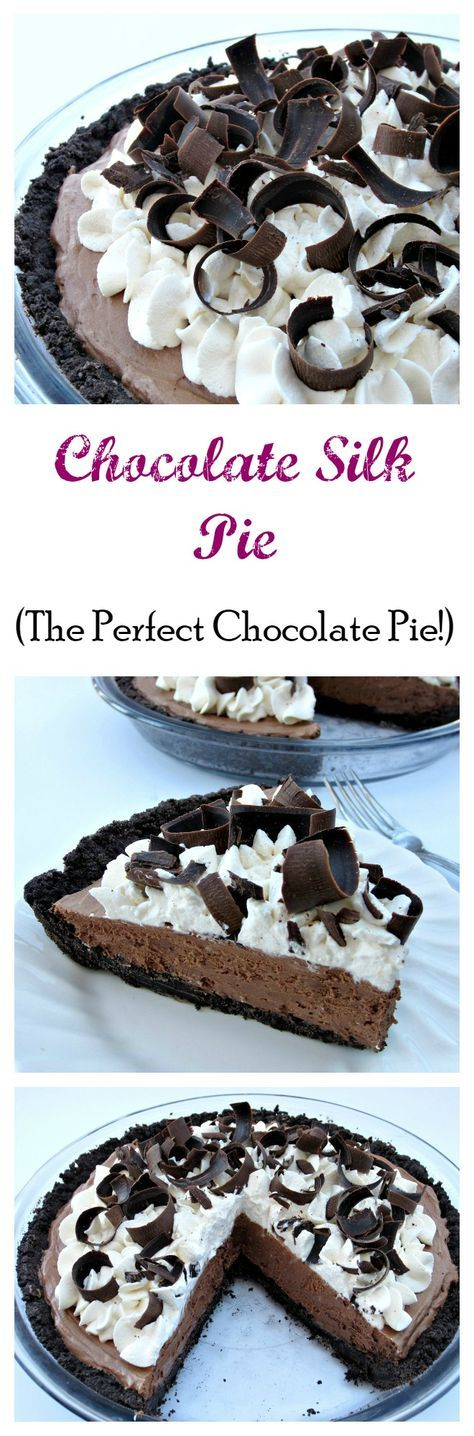 Chocolate Silk Pie- The Perfect Chocolate Pie! Smooth, creamy and thick you will be in chocolate pie heaven with every bite!