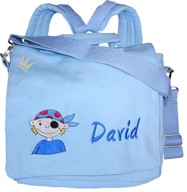 Für kleine Piraten unverzichtbar, diese Kindergartentasche mit einem Namen bestickt wird zu einem unverwechselbaren Begleiter im Kindergarten!
