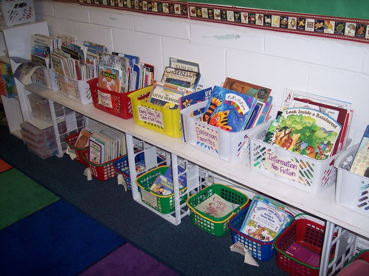 Create more library space by using file crates and a long board painted white.