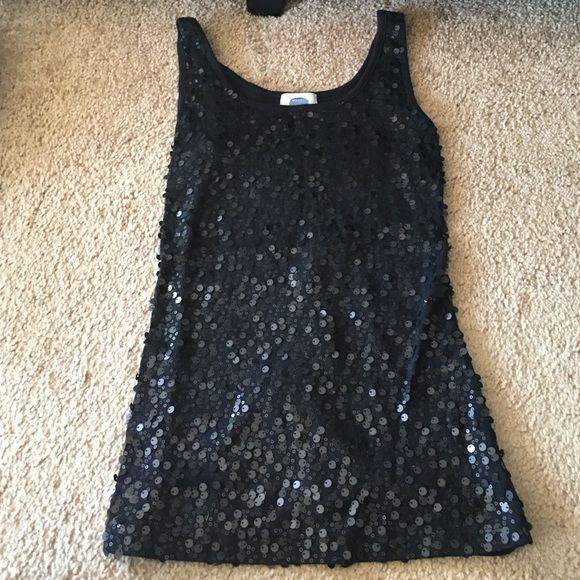 Black Sequined Tank Top A black sequined tank top.  Very easy to dress up or dress down.  Great for summer parties or hanging with friends.  Fits close to the body. Sequins only on front of shirt. Old Navy Tops Tank Tops