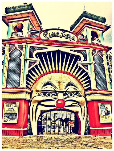 Luna Park, Melbourne by edocMadman, via Flickr | #urbanart #architecture #blue #red #yellow #iphoneography