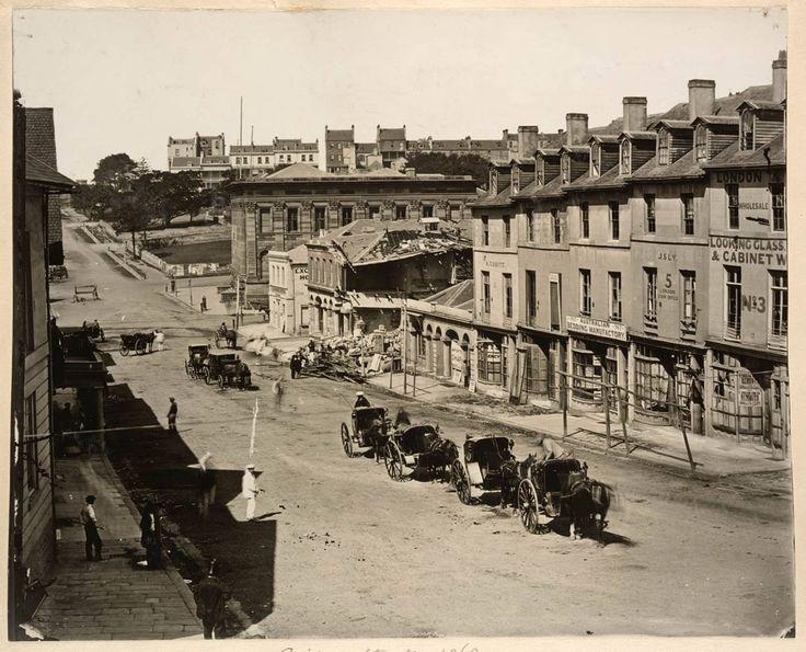 Bridge St Sydney 1866. After gunpowder explosion.