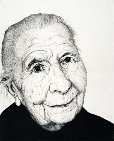 Arne Bendik Sjur. Smiling Woman (white), 2005. Drypoint. Edition of 7. 5 x 4 inches.