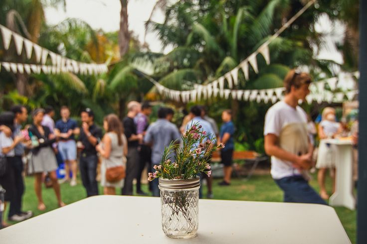 Geraldton Wax flower jar, bunting, engagement party.