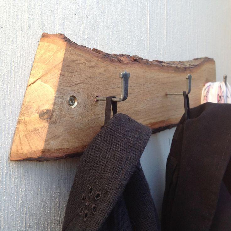 Oak branch slice coat rack. Log slice with 3 metal hooks for coats, hats, scarves etc. Solid oak branch. Rustic decor. Log slice with bark. by CoventinaCreations on Etsy