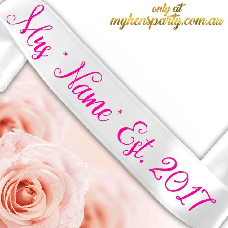 Mrs *Name* Est. *Year* Sash - Printed or Glitter