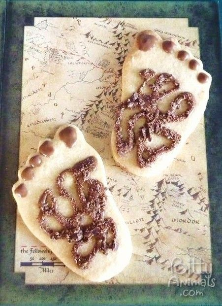 "Hairy Hobbit Feet Cookies for a Lord of the Rings/Hobbit party - Why didn't I think of this theme earlier? We've taken to calling my grandsons Hobbits because they eat about 6 meals a day. Now they (proudly) call themselves Hobbits when they grab ""second breakfast"" at my house. I even caught them checking their toes for hair! lol"