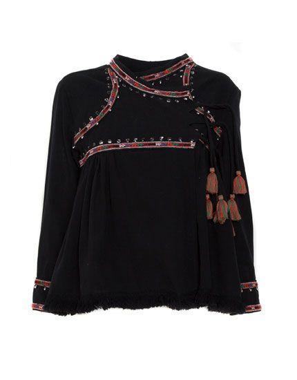 Beaded pompom jacket - Blouses & shirts - Clothing - Woman - PULL&BEAR United Kingdom