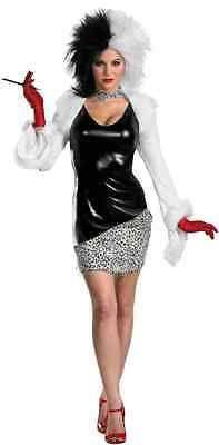 Sassy Cruella de Vil Disney 101 Dalmatians Fancy Dress Halloween Adult Costume
