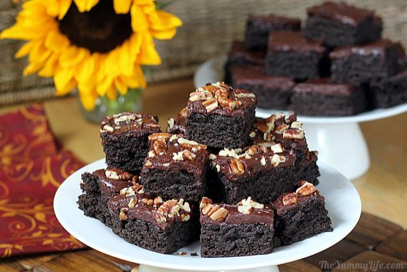 Zucchini Brownies- these are insanely amazing!  Moist,  and chewy,  and could be made vegan!  I subbed in 1C. Honey for 1.5 C. sugar...