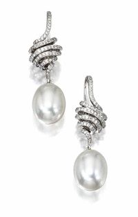 Cultured Pearl & Diamond Earrings