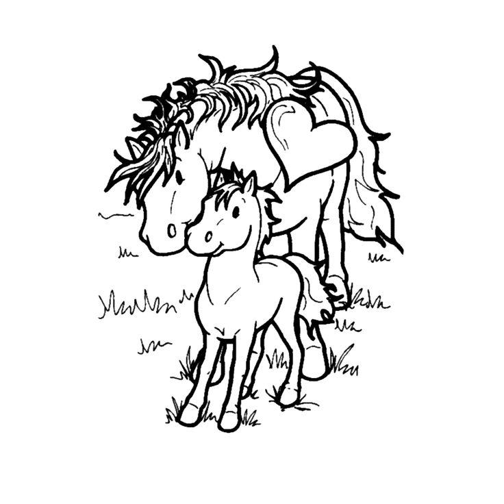 Leuk voor kids kleurplaat - Een paard en haar veulen ...