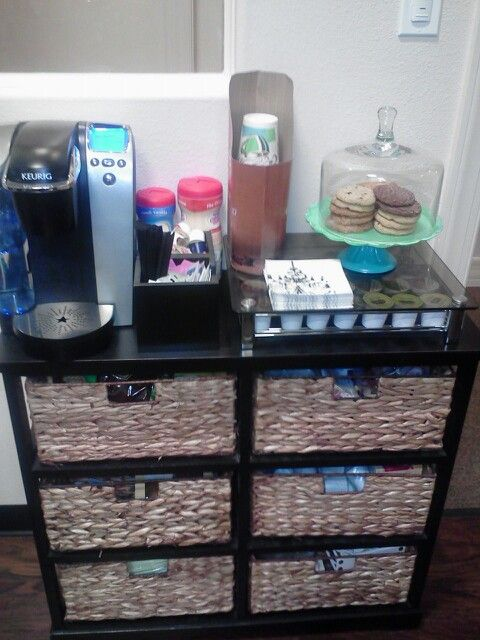 Create a perfect home or office coffee station great for Coffee bar ideas for office