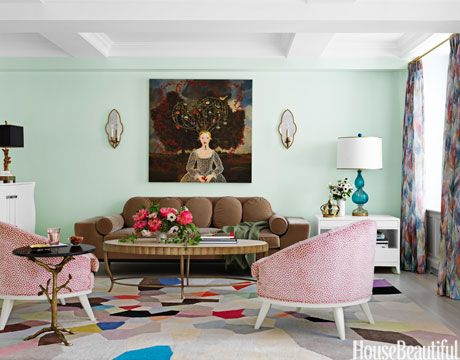 To bring a feeling of nature into a New York living room, designer Fawn Galli used a custom minty green.