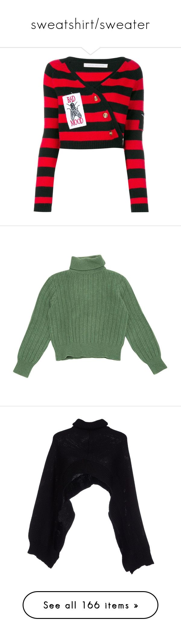 """""""sweatshirt/sweater"""" by alpedo ❤ liked on Polyvore featuring tops, sweaters, stripe sweater, wrap top, patterned sweater, wraparound sweater, print sweater, shirts, green and cashmere sweater"""