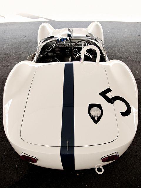white convertable with black stripe