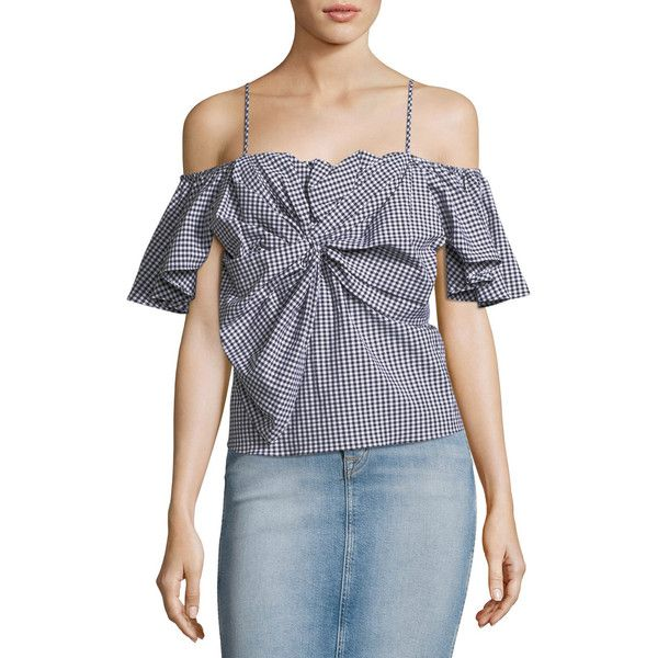 Misa Los Angeles Gaelle Cold-Shoulder Gingham Poplin Top (3.985 ARS) ❤ liked on Polyvore featuring tops, black, cold shoulder tops, ruffle sleeve top, misa los angeles, cut-out shoulder tops and gingham top