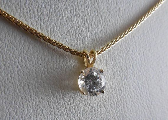 14K Gold 585 Necklace Snake Chain With Crystal CZ by hatstoflats #ecochic #vintagegoldcznecklace