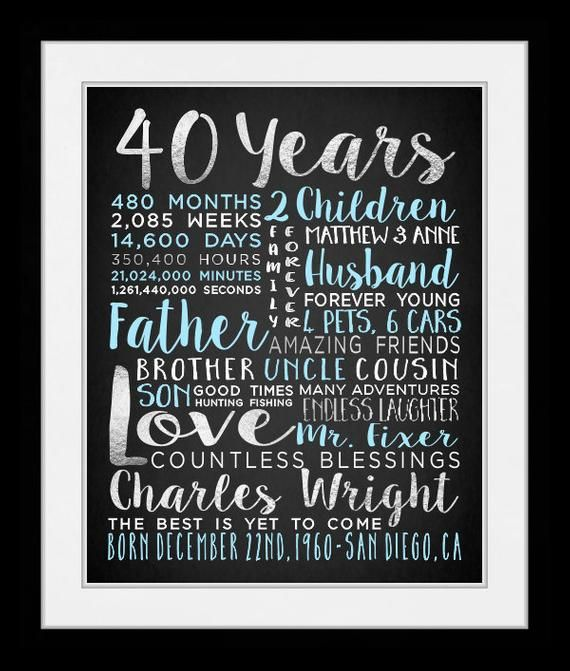 Custom Gift For Husband On Birthday 40th 40 Years Old Over The Hill Turning Husbands 30 50 77110