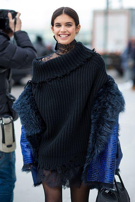 New York fashion week street style chunky oversized sweater lace