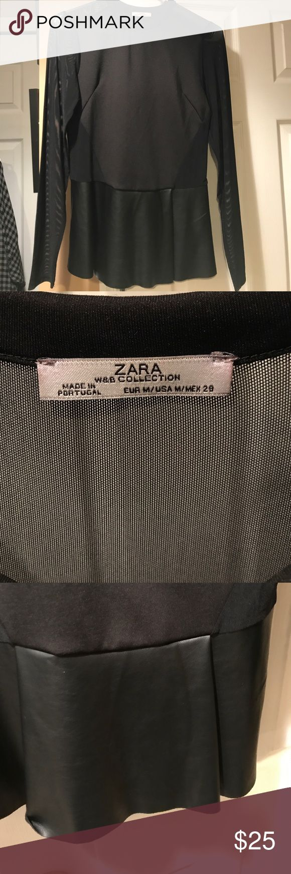 Zara leather peplum top Black sheer sleeved, leather peplum leather on the bottom of the shirt Zara Tops Blouses