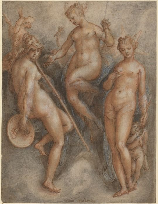 """Three Goddesses: Minerva, Juno and Venus"", c.1587, Jan van der Straet."