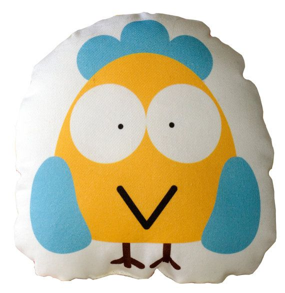 Yellow Bird with Blue Wings Cushion, Pillow, Soft Toy for Children  www.bobomoo.com
