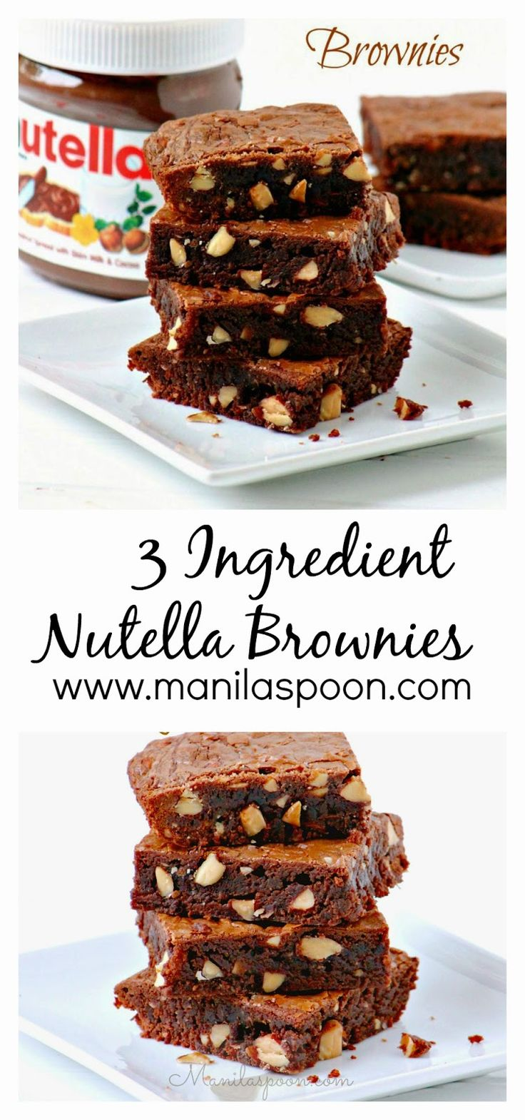 Fudgy, nutty, yummy - everything I love in a brownie - 3-INGREDIENT NUTELLA BROWNIES! These are also GLUTEN-FREE (though you can also use regular flour, too).
