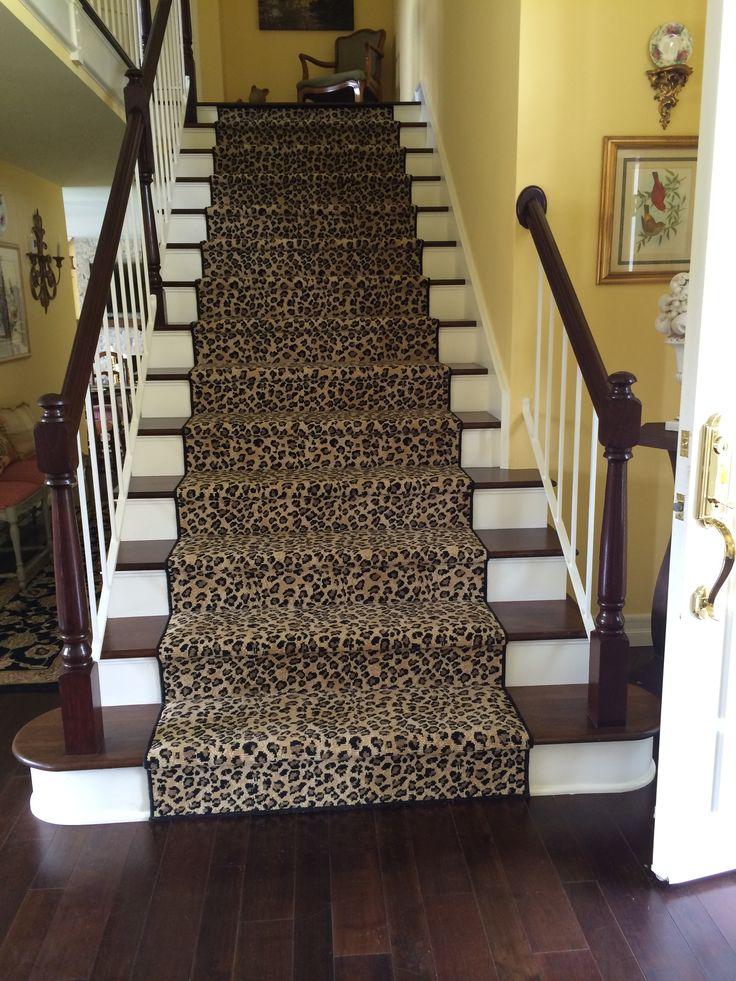 Leopard animal print stair runner runners stairs and for Leopard print carpet stair runner
